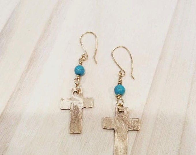 Cross and Turquoise Earrings