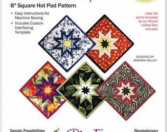 "Folded Star Squared Hot Pad Pattern 8"" Square"