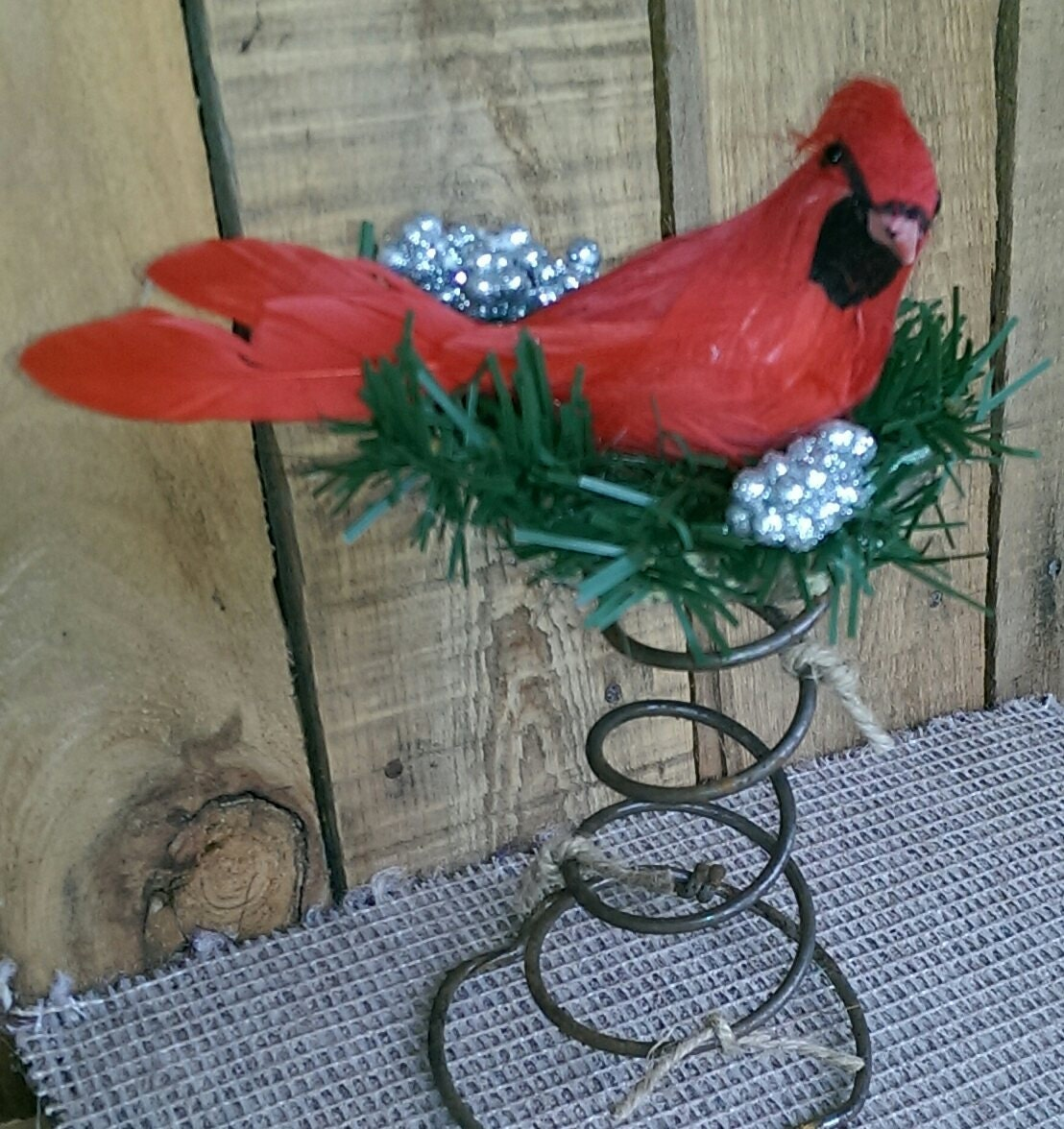 Rustic christmastree topper bed spring cardinal decor holiday for Bed spring decoration