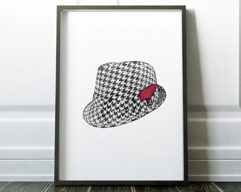 Alabama Houndstooth Hat Worn by Bear Bryant | Art Print