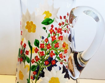 Pitcher - Great for Water, Juice, Iced Tea, Sangria - Hand Painted Alpine Flowers - Edelweiss, Alpenrose and Enzian Flowers