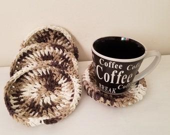 Coasters/ set of coasters/ Brown coasters/Crochet coasters/ handmade coasters