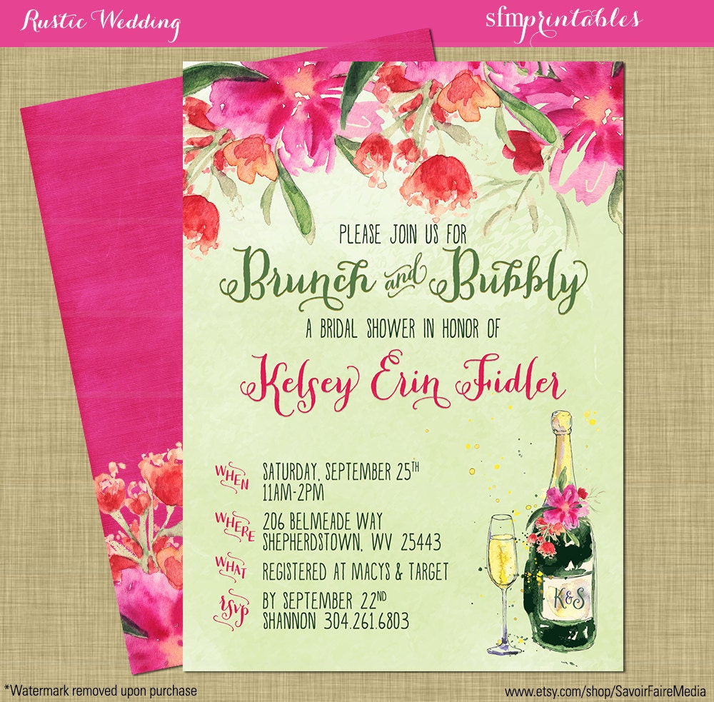 Brunch And Bubbly Bridal Shower Invitations Bright Spring