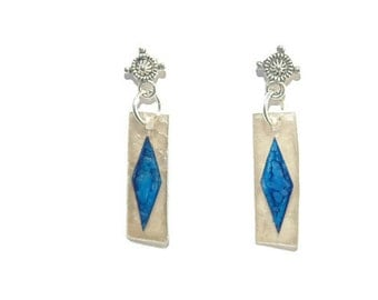 Blue Mica on Clear Mica Natural Drop Earrings