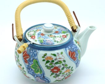 New Japanese tea pot with strainer Hand painted Vintage