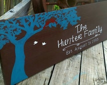 Large Family Name Sign - Wedding Gift - Wooden Last Name Decor - Family Bird Sign - Birds In Tree Wall Decor - Painted Name Sign