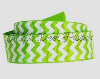 "7/8"" Apple Green Chevron Print Grosgrain Ribbon 7/8"" x 1 yard"