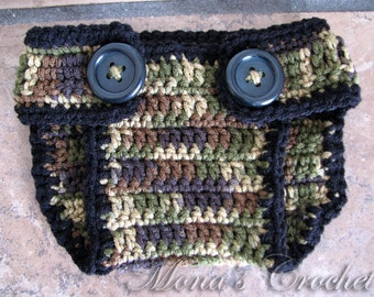Hand Crocheted Camo Diaper Cover | Diaper Cover | Camouflage Diaper Cover | Baby Shower Gift - Size Newborn to 6 Months