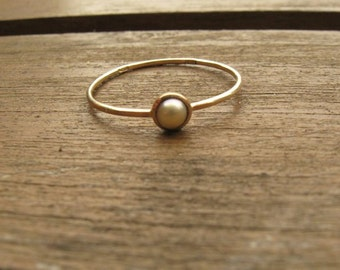 Pearl Ring, solid 14k gold,  solitaire  ring, pearl engagement ring, contemporary jewelry, unique gift for her