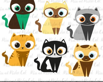 """Cat clipart. kitten vector graphics, kitty clipart, digital images. Commercial use. Model """"Lovely Cats"""""""