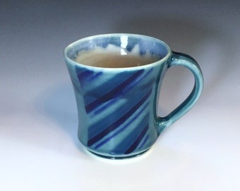 Blue Ceramic Mug, Blue Porcelain Mug, Ceramic Coffee Mug, Large Ceramic Mug, Ceramic Mug, Blue Coffee Cup, Tea Mug, Wheel Thrown Pottery Mug