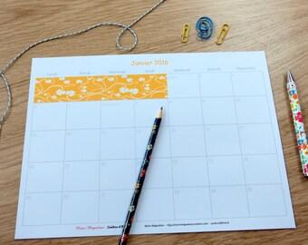 Calendar 2016 - blue and yellow - practice - organization