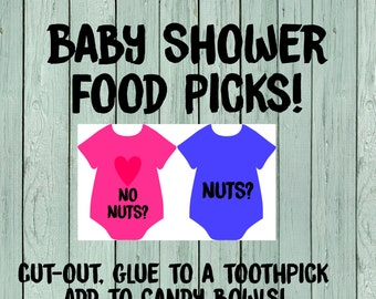 Gender Reveal Decor Nuts or No Nuts food Pick toppers- Digital File *****INSTANT DOWNLOAD**** (Diaper-BabyDeertan)