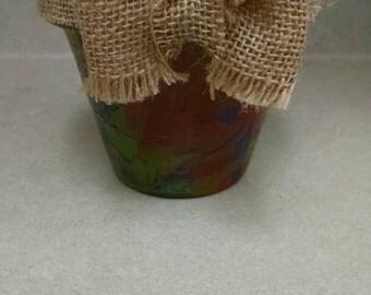 Tye Dye Flower Pot