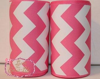 Pink and White Chevron 3 Inch Cheer Ribbon-5 yards