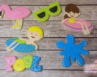 Pool Party themed Decorated Sugar Cookies  -1 dozen