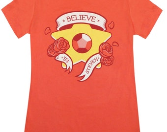 Believe in Steven Ladies fitted T-Shirt