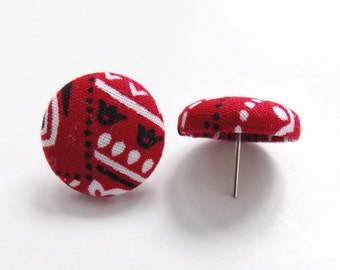 Red Bandana Fabric Button Earrings Country Girl Fabric Earrings Red Studs or Posts Bandana Accessories Gift for Her Womens Button Earrings