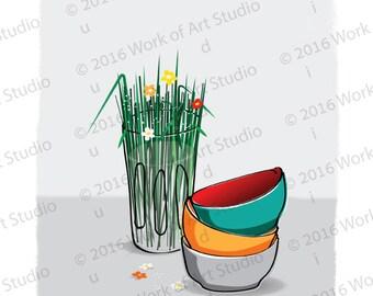 PRINT of myOriginal illustration,Kitchenware,colorful bowls,glass,flowers,vegetables,flowers,soup,dinner,family,kitchen,Digital illustration
