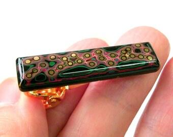 Black Gold Tie Clip Psychedelic Japanese Tie Bar Samurai Menswear Jewelry Anniversary Oriental Art Tie Pin Asian Kabuki Gift Made In Japan