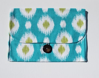 Diaper and Wipes Clutch | Turquoise Ikat