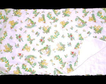 Vintage Baby Toddler Sleeping Bag Forest Animal Friends '70s Quilted Zip Up Sleep Sack Retro Bunting  Zip-A-Quilt Crib Comforter Bedspread