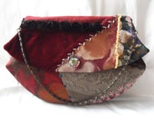 Red mixed fabric evening bag. Crazy quilted clutch bag.