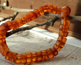 63.2 gr Natural Baltic Amber Cognac Color Tablet Beads Necklace