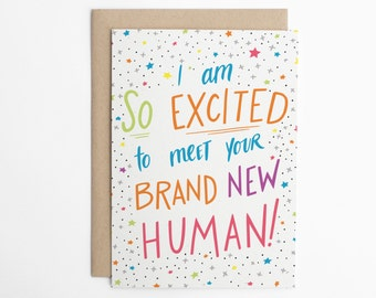 Funny New Baby Card, Brand New Human, Congratulations Card, Expecting Card, Baby Congratulations, Congrats Card, Baby Announcement/C-303
