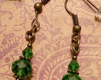 Green Crystals on Bronze Dangle Earrings