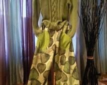 Women's handmade pants / fairy pants / with pockets / Lagenlook pants / green pants / ruffled pants / leaves