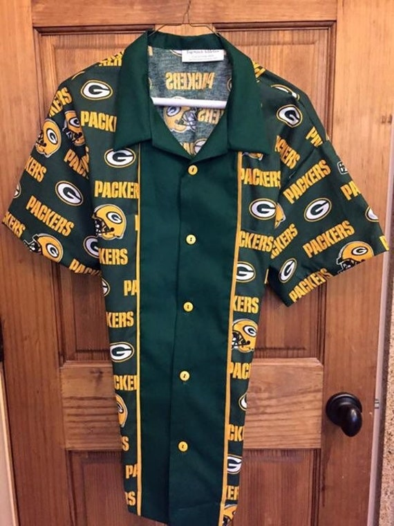 Green bay packers retro bowling shirt for Green bay packers retro shirt
