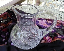 "Stunning 6"" Crystal Pitcher. Notched Applied Handle Sawtooth Rim Thumbprint Neck"