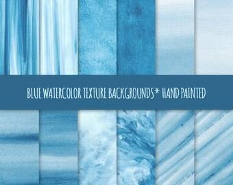 Blue Watercolor Texture Digital Paper; Hand Painted Watercolor Backgrounds ~ Watercolor Scrapbook Paper ~ Watercolor Card Background
