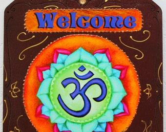 OM, Yoga art,Om plaque, meditation plaque, brown wood plaque, zen  wall hanging, Om wall hanging