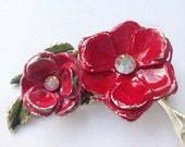 Vintage Floral Brooch - Mad Men - 1950s Fashion - Vintage Wedding Jewelry - Brooch Bouquet - Gift For Her - Rockabilly - Rose Brooch