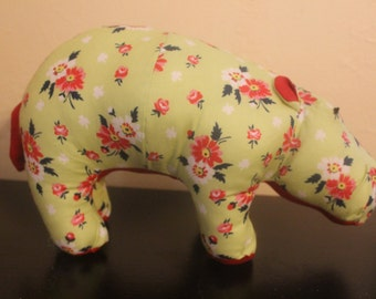 Green and red flowered stuffed hippo/plushie