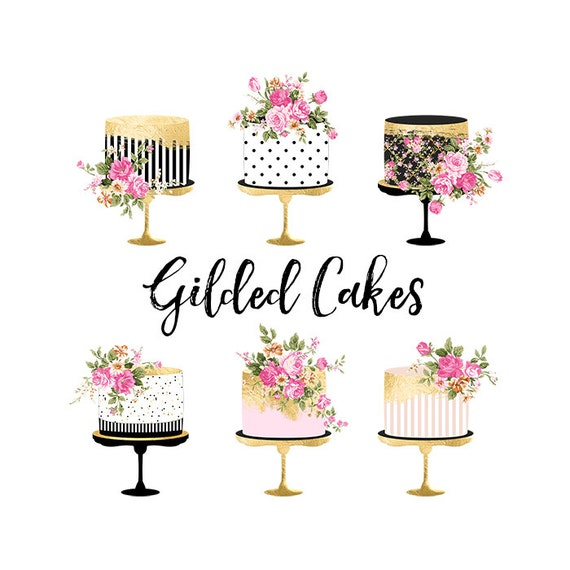 Cake Clipart Gold Foil Cake Clipart Shabby Chic Clipart