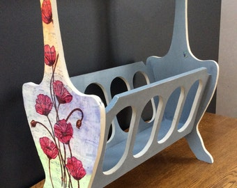 Magazine Rack with vintage music sheets and painted poppies
