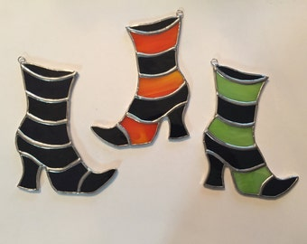 Handmade Stained Glass Witch's Boot Suncatcher