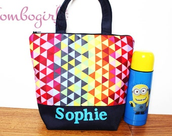 Insulated Lunch Bag / lunch Tote, Personalised, Australian made, zipped, waterproof lining – Medium or Large, Rainbow