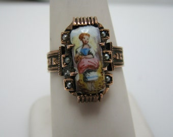 Vintage Hand Painted Porcelain Ring in 9k Rose Gold