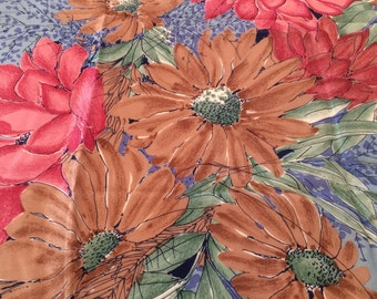 Vintage Vera Neumann Women's Scarf with Floral Design, Blue and Pink