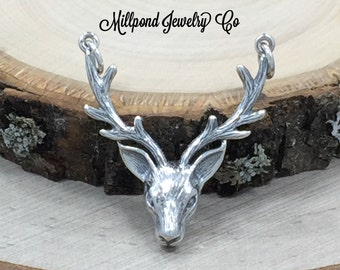 Stag Head Link, Stag Head Connector, Deer Charm, Buck Charm, Sterling Silver Charm, Stag Charm, Animal Charm, PS01467
