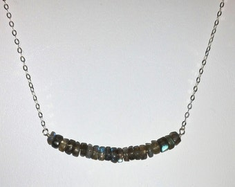 Grey Labradorite Minimalist Bar NECKLACE on Sterling Silver Chain