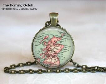 SCOTLAND Map Pendant • Vintage Scotland Map • Old Scotland Map • Scottish Map • Gift Under 20 • Made in Australia (P0474)
