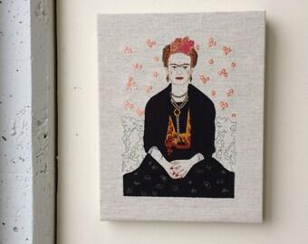 Embroided FRIDA KAHLO portrait