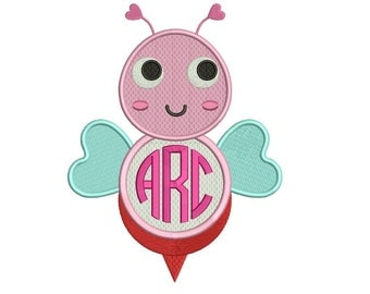 Monogrammed Bee Machine Embroidery Filled Design Digitized Pattern - Instant Download