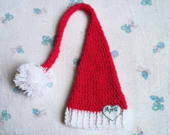 New Handmade Crochet Baby Personalized Long tailed Elf Hat (0-3 months)