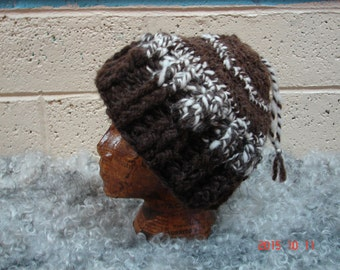 Super Thick Bulky Handspun Yarn Natural Brown And White Crochet